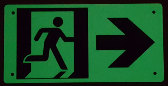 "PHOTOLUMINESCENT EXIT Signage/ GLOW IN THE DARK ""EXIT"" Signage(ALUMINUM Signage WITH RIGHT ARROW AND RUNNING MAN/ EGRESS DIRECTION Signage"