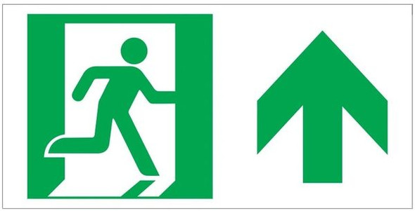 "GLOW IN THE DARK HIGH INTENSITY SELF STICKING PVC GLOW IN THE DARK SAFETY GUIDANCE Sign - ""EXIT"" Sign WITH RUNNING MAN AND UP ARROW (GLOWING EGRESS DIRECTION Sign"