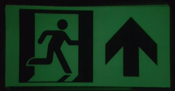 "GLOW IN THE DARK HIGH INTENSITY SELF STICKING PVC GLOW IN THE DARK SAFETY GUIDANCE Signage - ""EXIT"" Signage WITH RUNNING MAN AND UP ARROW (GLOWING EGRESS DIRECTION Signage"