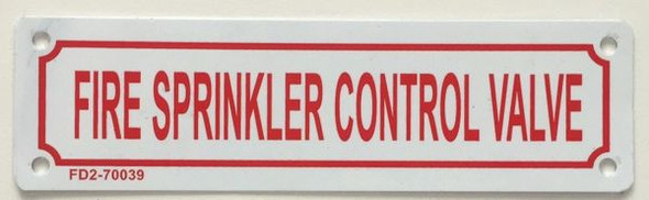 FIRE SPRINKLER CONTROL VALVE SIGN WHITE