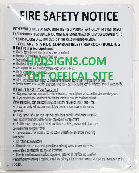 HPD FIRE SAFETY NOTICE