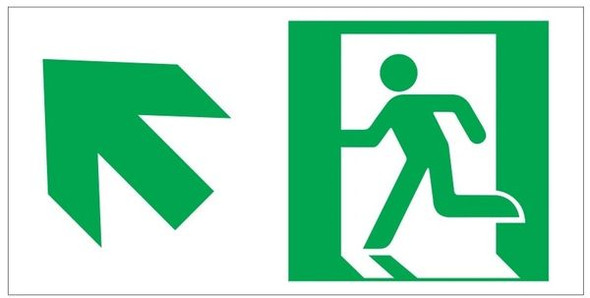 "GLOW IN THE DARK HIGH INTENSITY SELF STICKING PVC GLOW IN THE DARK SAFETY GUIDANCE Sign - ""EXIT"" Sign WITH RUNNING MAN AND UP LEFT ARROW (GLOWING EGRESS DIRECTION Sign"