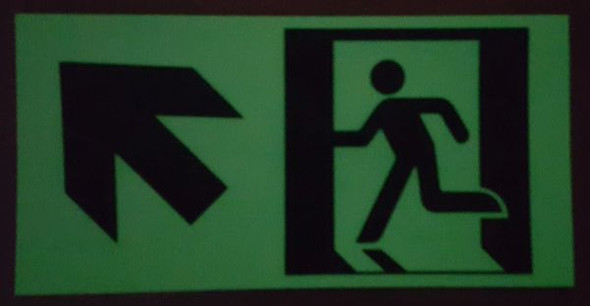 "GLOW IN THE DARK HIGH INTENSITY SELF STICKING PVC GLOW IN THE DARK SAFETY GUIDANCE SIGN - ""EXIT"" SIGN White"
