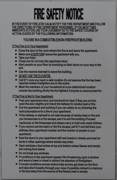 DOOR FIRE SAFETY NOTICE - NON FIREPROOF BUILDING (Sticker 8.5x5.5)-El blanco Line