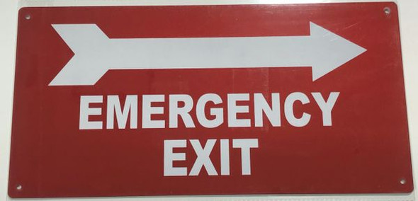 EMERGENCY EXIT RIGHT SIGN Red