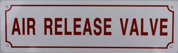 AIR RELEASE VALVE SIGN WHITE