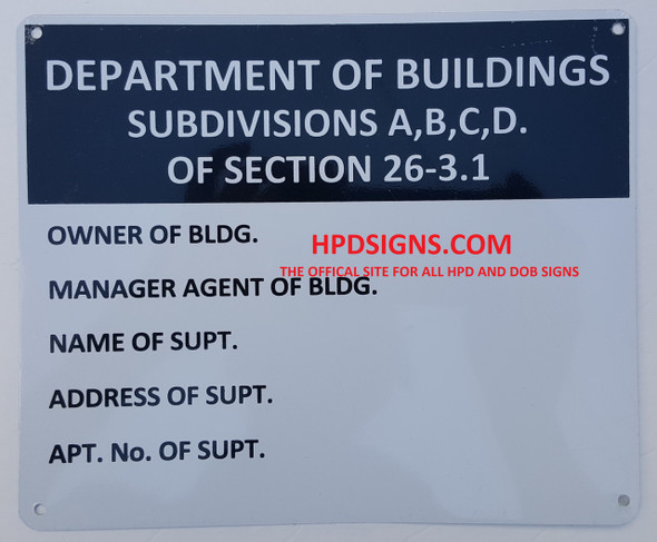 Department of Building Subdivisions A,B,C,D. Of Section 26-3.1  SIGN