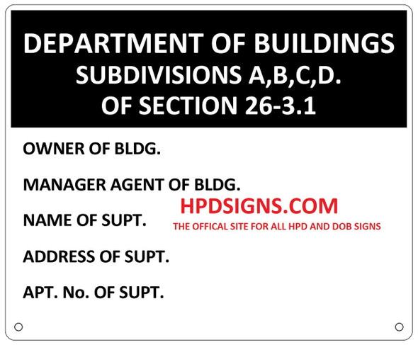 Department of Building Subdivisions A,B,C,D. Of Section 26-3.1