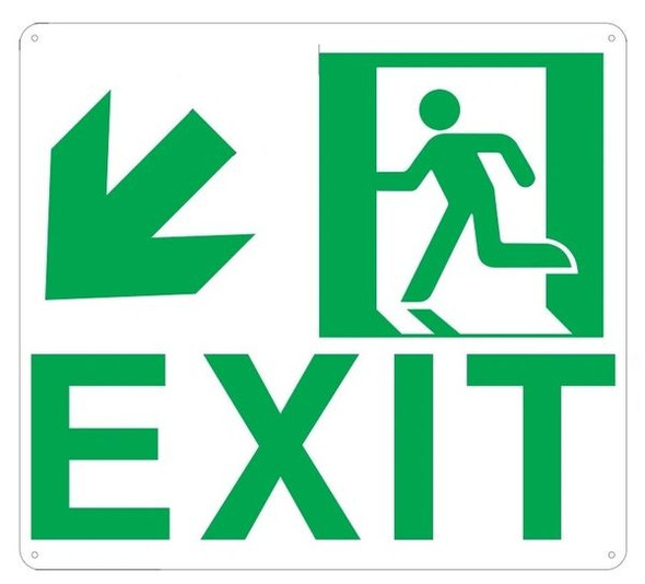 "PHOTOLUMINESCENT EXIT Sign/ GLOW IN THE DARK ""EXIT"" Sign(ALUMINUM Sign WITH DOWN LEFT ARROW AND RUNNING MAN/ EGRESS DIRECTION Sign"