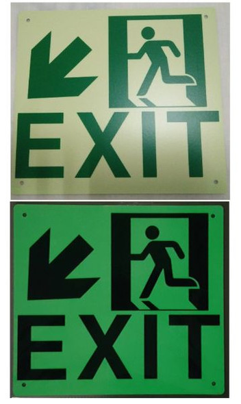 "PHOTOLUMINESCENT EXIT Signage/ GLOW IN THE DARK ""EXIT"" Signage(ALUMINUM Signage WITH DOWN LEFT ARROW AND RUNNING MAN/ EGRESS DIRECTION Signage"