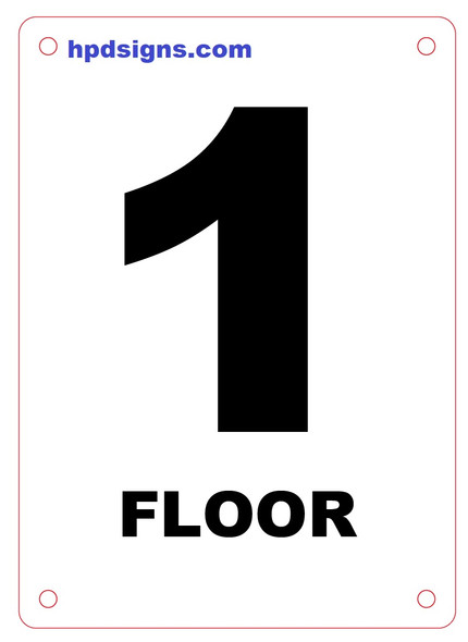 FLOOR NUMBER Sign - FLOOR 1