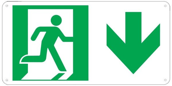 "PHOTOLUMINESCENT EXIT Sign/ GLOW IN THE DARK ""EXIT"" Sign(ALUMINUM Sign WITH DOWN ARROW AND RUNNING MAN/ EGRESS DIRECTION Sign"