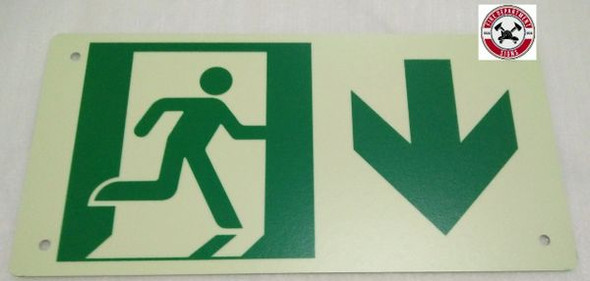 "PHOTOLUMINESCENT EXIT Signage/ GLOW IN THE DARK ""EXIT"" Signage(ALUMINUM Signage WITH DOWN ARROW AND RUNNING MAN/ EGRESS DIRECTION Signage"