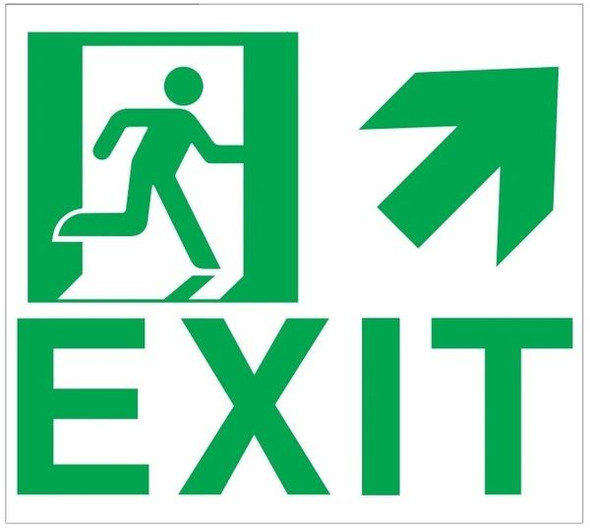 "GLOW IN THE DARK HIGH INTENSITY SELF STICKING PVC GLOW IN THE DARK SAFETY GUIDANCE Sign - ""EXIT"" SignWITH RUNNING MAN AND UP RIGHT ARROW (GLOWING EGRESS DIRECTION Sign"