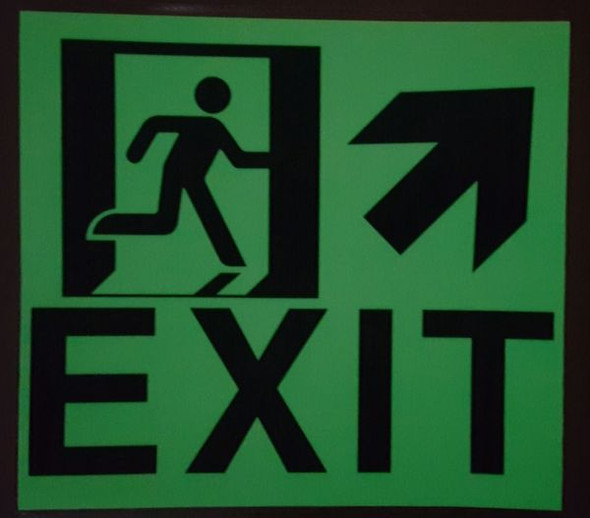"GLOW IN THE DARK HIGH INTENSITY SELF STICKING PVC GLOW IN THE DARK SAFETY GUIDANCE Signage - ""EXIT"" SignageWITH RUNNING MAN AND UP RIGHT ARROW (GLOWING EGRESS DIRECTION Signage"