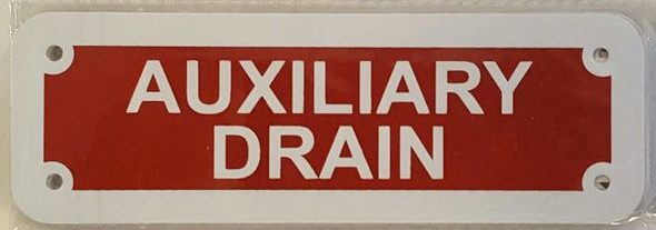AUXILIARY DRAIN Signage