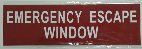 EMERGENCY ESCAPE WINDOW SIGN Red