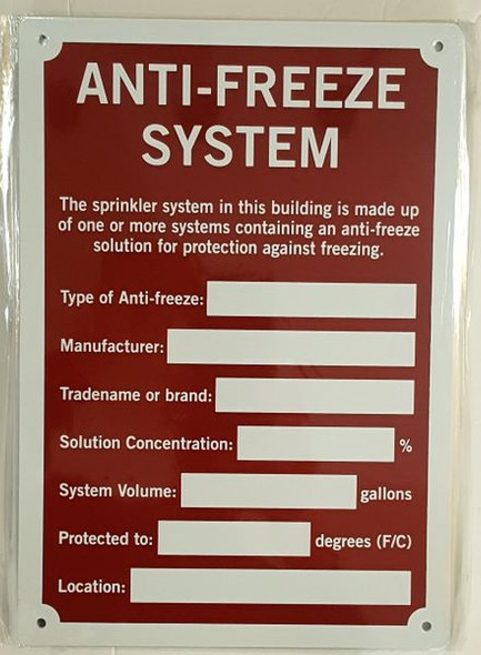 ANTI-FREEZE SYSTEM SIGN for Building