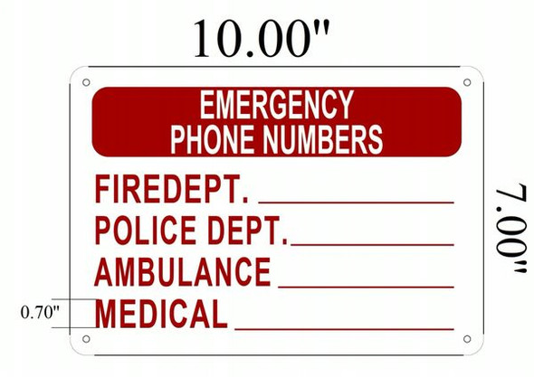EMERGENCY PHONE NUMBERS Signage - ALUMINUM