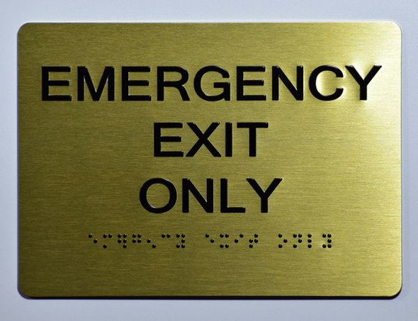 Emergency EXIT ONLY Sign -Tactile Signs Tactile Signs  Ada sign
