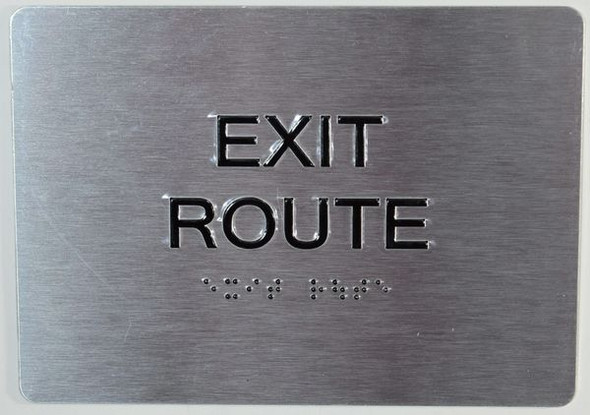 EXIT ROUTE Sign -Tactile Signs Tactile Signs  BRAILLE  Ada sign