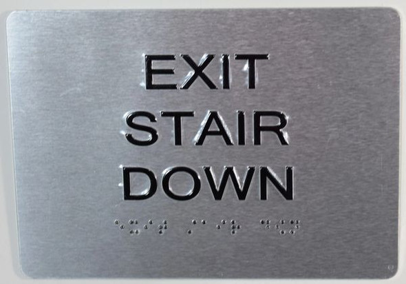 EXIT STAIR DOWN SIGN  Tactile Signs  Ada sign
