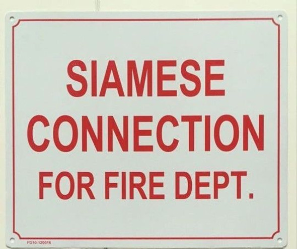 SIAMESE CONNECTION FOR FIRE DEPARTMENT Dob SIGN