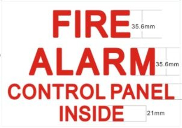 FIRE ALARM CONTROL PANEL INSIDE Sign (STICKER )