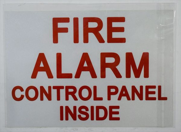 FIRE ALARM CONTROL PANEL INSIDE SIGN White