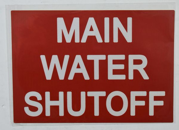 MAIN WATER SHUT-OFF SIGN Red