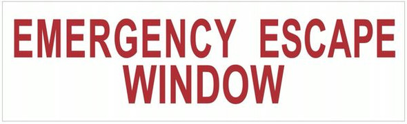 EMERGENCY ESCAPE WINDOW Sign-