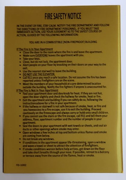DOOR Fire Safety Notice: Non Fire Proof Building  SIGN