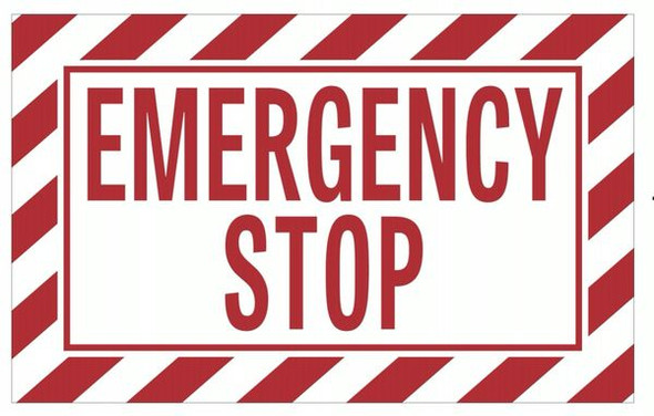 EMERGENCY STOP SIGN (ALUMINUM SIGNS, WHITE)