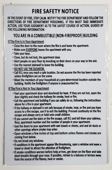 DOOR FIRE SAFETY NOTICE for Building