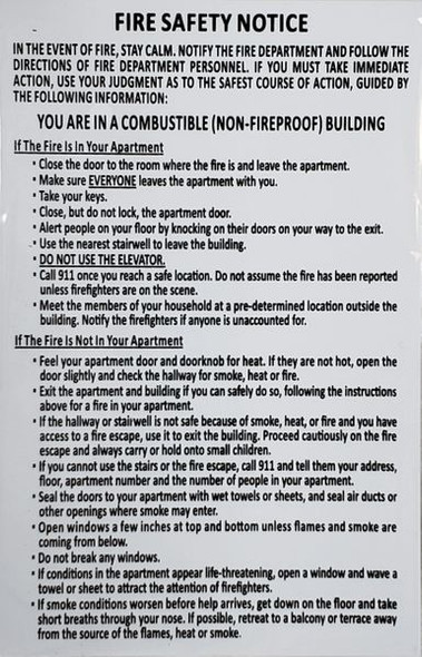 DOOR FIRE SAFETY NOTICE