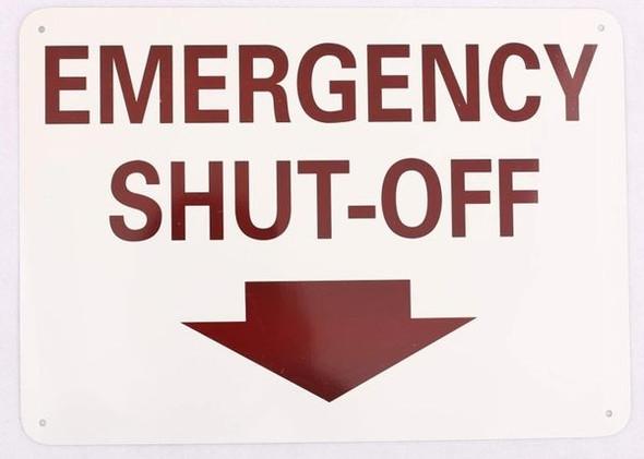 EMERGENCY SHUT-OFF Signage- DOWNWARDS ARROW