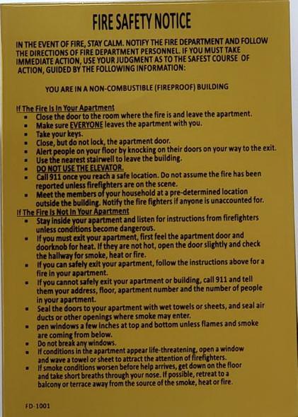 DOOR Fire Safety Notice SIGN