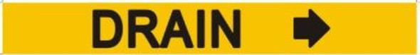DRAIN Sign RIGHT ARROW (STICKER) YELLOW