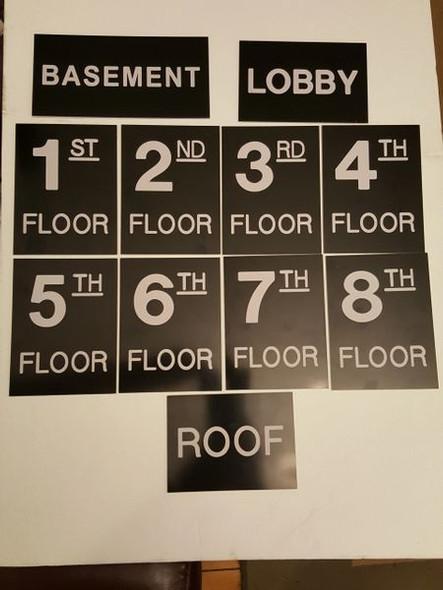 Floor number Signage Set Engraved Plastic