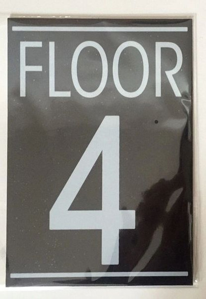 FLOOR NUMBER FOUR (4) Dob SIGN WHITE