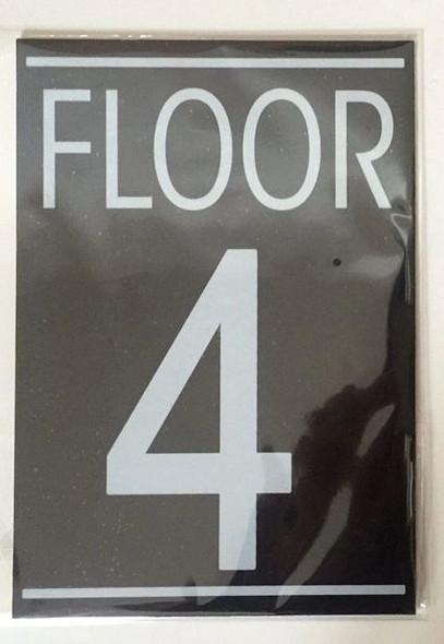 FLOOR NUMBER FOUR (4) Dob SIGN WHITE
