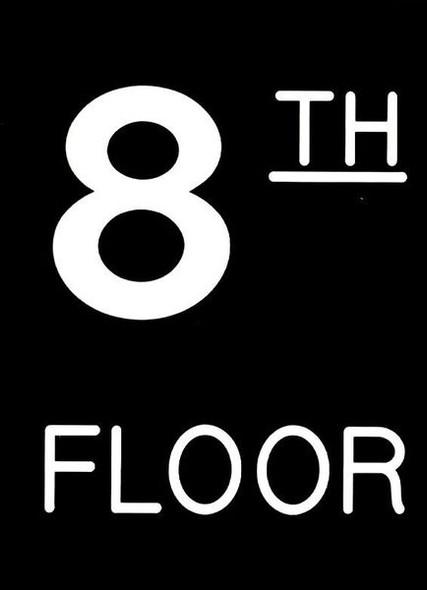 Floor number Eight (8) sign