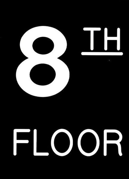 Floor number Eight (8) Sign Engraved Plastic (FLOOR NUMBER Sign.)