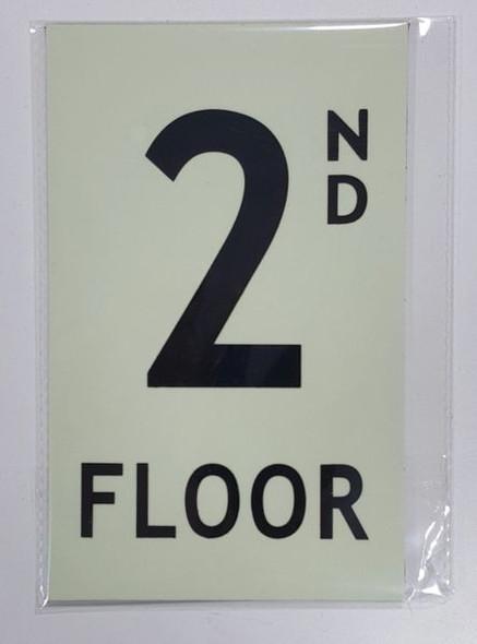 FLOOR NUMBER Sign - 2ND FLOOR Sign- PHOTOLUMINESCENT GLOW IN THE DARK Sign