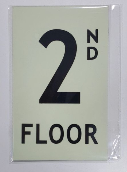 FLOOR NUMBER Signage - 2ND FLOOR Signage- PHOTOLUMINESCENT GLOW IN THE DARK Signage