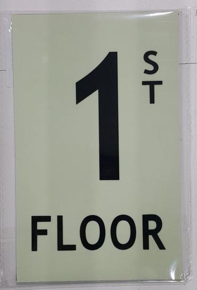 FLOOR NUMBER Sign - 1ST FLOOR Sign - PHOTOLUMINESCENT GLOW IN THE DARK Sign