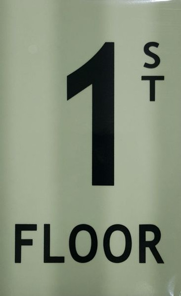 FLOOR NUMBER Signage - 1ST FLOOR Signage - PHOTOLUMINESCENT GLOW IN THE DARK Signage