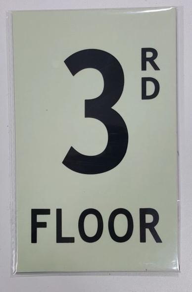 FLOOR NUMBER Sign -RD FLOOR Sign - PHOTOLUMINESCENT GLOW IN THE DARK Sign