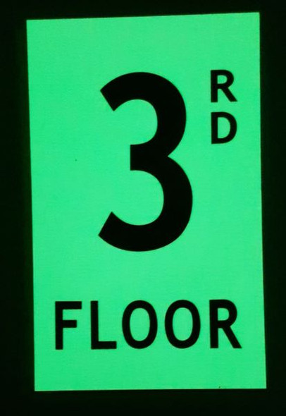 FLOOR NUMBER Signage -RD FLOOR Signage - PHOTOLUMINESCENT GLOW IN THE DARK Signage