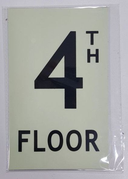 FLOOR NUMBER Sign -TH FLOOR Sign - PHOTOLUMINESCENT GLOW IN THE DARK Sign